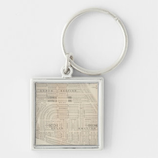 Vintage Map of Marthas Vineyard (1873) Silver-Colored Square Keychain