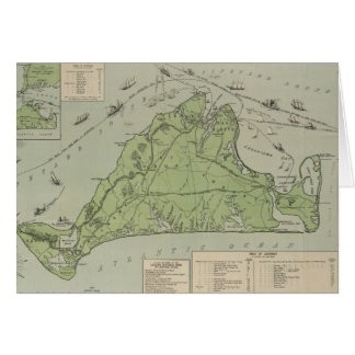Vintage Map of Marthas Vineyard (1913) Card