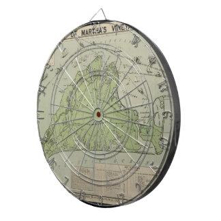 Vintage Map of Marthas Vineyard (1913) Dartboard With Darts
