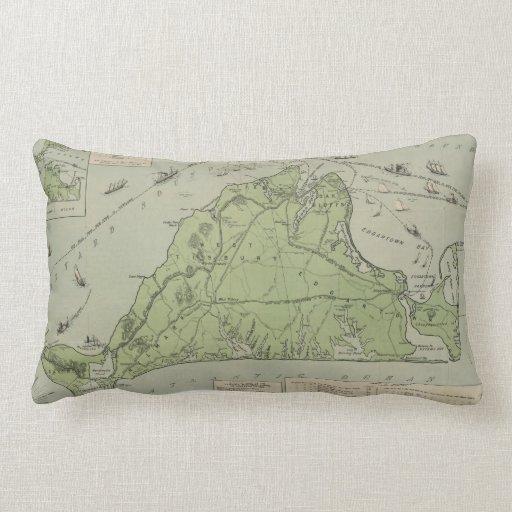 Vintage Map of Marthas Vineyard (1913) Throw Pillow