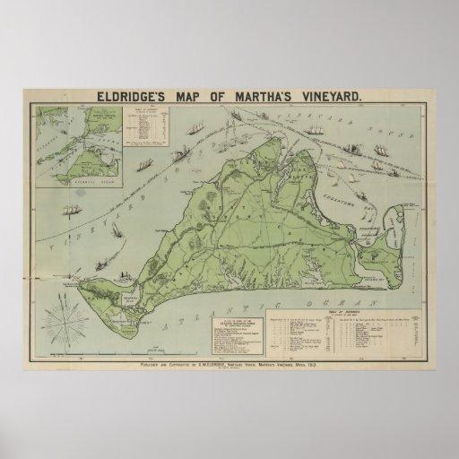 Vintage Map of Martha's Vineyard (1913) Print