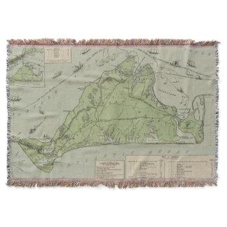 Vintage Map of Marthas Vineyard (1913) Throw Blanket