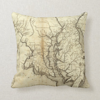 Vintage Map of Maryland (1796) Throw Pillow