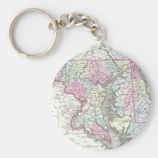 Vintage Map of Maryland (1855) Basic Round Button Keychain