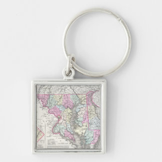 Vintage Map of Maryland (1855) Silver-Colored Square Keychain