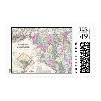 Vintage Map of Maryland (1855) Postage