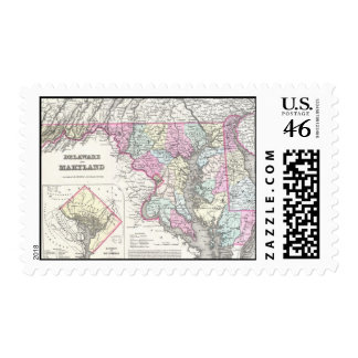 Vintage Map of Maryland 1855 Postage Stamps