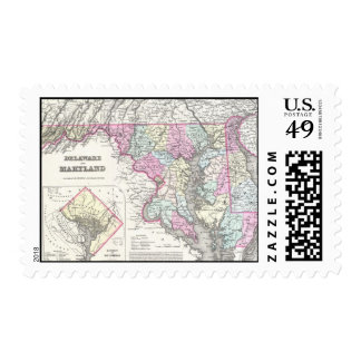Vintage Map of Maryland (1855) Postage Stamps