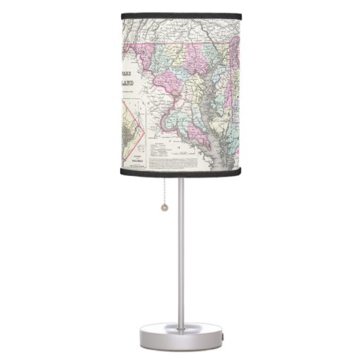Vintage Map of Maryland (1855) Table Lamp