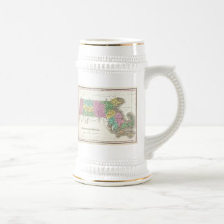 Vintage Map of Massachusetts (1827) 18 Oz Beer Stein