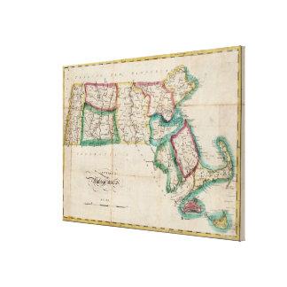 Vintage Map of Massachusetts (1827) 2 Canvas Print