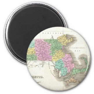 Vintage Map of Massachusetts (1827) 2 Inch Round Magnet