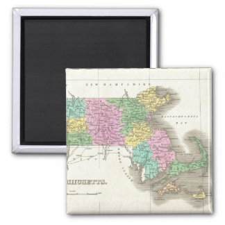 Vintage Map of Massachusetts (1827) 2 Inch Square Magnet
