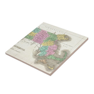 Vintage Map of Massachusetts (1827) Ceramic Tile