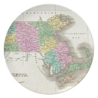 Vintage Map of Massachusetts (1827) Dinner Plate