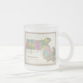 Vintage Map of Massachusetts (1827) Frosted Glass Coffee Mug