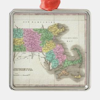 Vintage Map of Massachusetts (1827) Metal Ornament