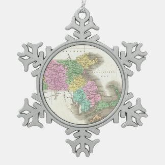Vintage Map of Massachusetts (1827) Snowflake Pewter Christmas Ornament