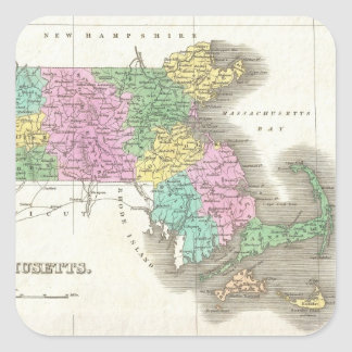 Vintage Map of Massachusetts (1827) Square Sticker