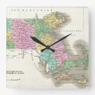 Vintage Map of Massachusetts (1827) Square Wall Clock