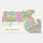 Vintage Map of Massachusetts (1827) Rectangle Sticker