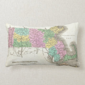 Vintage Map of Massachusetts (1827) Throw Pillow