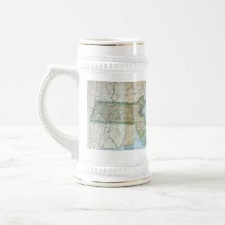 Vintage Map of Massachusetts (1905) 18 Oz Beer Stein
