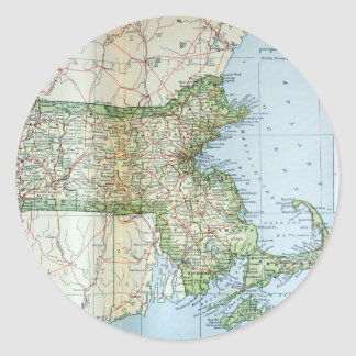 Vintage Map of Massachusetts (1905) Classic Round Sticker