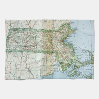 Vintage Map of Massachusetts (1905) Hand Towel