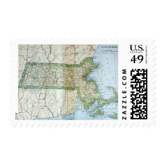 Vintage Map of Massachusetts 1905 Postage Stamps