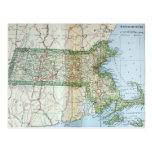 Vintage Map of Massachusetts (1905) Postcard