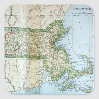 Vintage Map of Massachusetts (1905) Square Sticker