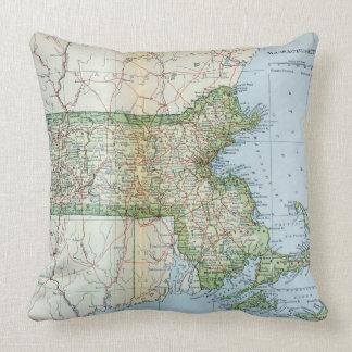 Vintage Map of Massachusetts (1905) Throw Pillow