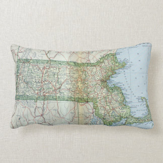 Vintage Map of Massachusetts (1905) Throw Pillows
