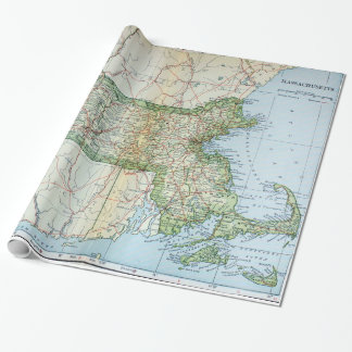 Vintage Map of Massachusetts (1905) Wrapping Paper