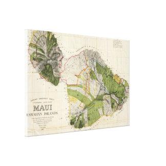 Vintage Map of Maui Island (1906) Canvas Print