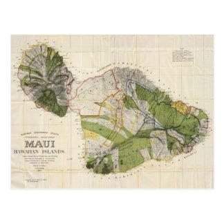 Vintage Map of Maui Island (1906) Postcard