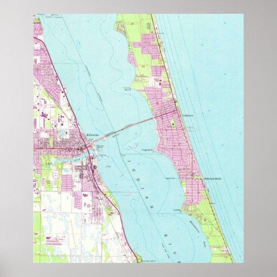 Vintage Map Of Melbourne Florida 1949 Poster Zazzle Com