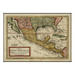 Vintage Map of Mexico (1708) Poster