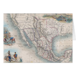 Vintage Map of Mexico (1851) Card