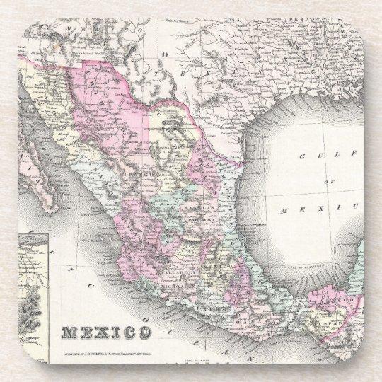 Vintage Map of Mexico (1855) Drink Coaster