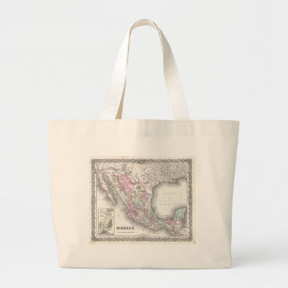 Vintage Map of Mexico (1855) Large Tote Bag