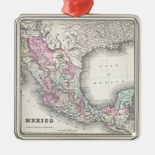 Vintage Map of Mexico (1855) Metal Ornament