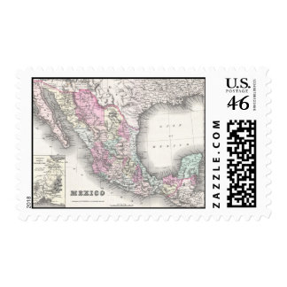 Vintage Map of Mexico 1855 Stamps