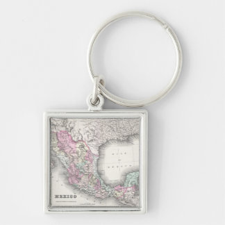 Vintage Map of Mexico (1855) Silver-Colored Square Keychain