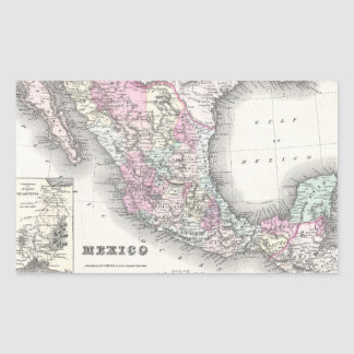Vintage Map of Mexico (1855) Rectangle Stickers