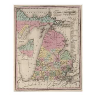 Vintage Map of Michigan (1836) Poster