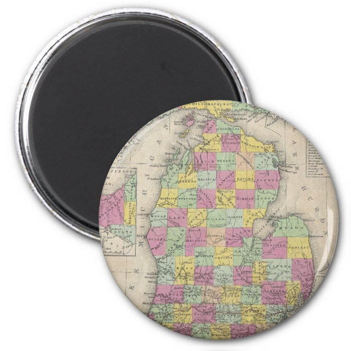 Vintage Map of Michigan (1853) 2 Inch Round Magnet