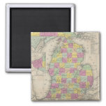 Vintage Map of Michigan (1853) 2 Inch Square Magnet