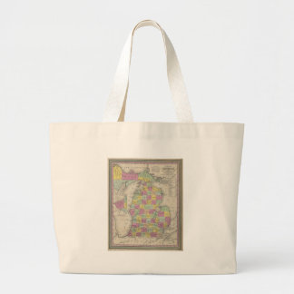 Vintage Map of Michigan (1853) Tote Bags